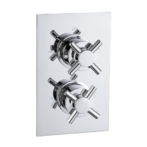 Abacus Emotion Cross Head Thermostatic Dual Outlet Shower Mixer Valve - Chrome
